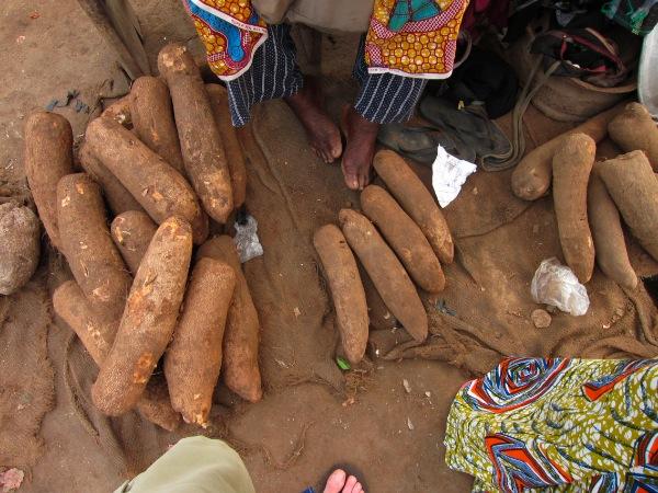 Yams in Ghana market