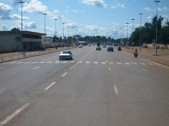 Wide roads in Yamoussoukro, Cote D'Ivoire