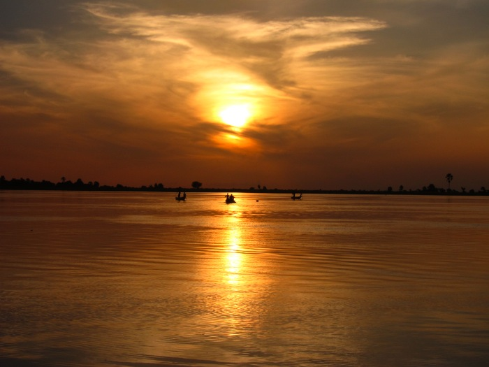 Sun Setting on Niger River on Pinasse