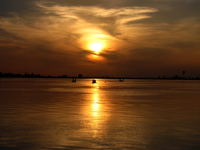 sunset on the niger river mali